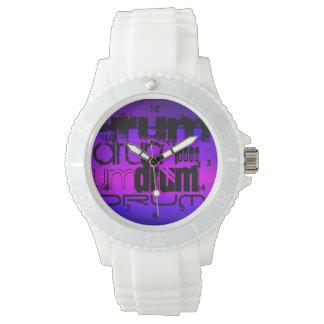 Drum; Vibrant Violet Blue and Magenta Wrist Watch