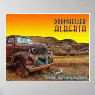 """Drumheller """"The Badlands"""" Vintage Travel Poster"""