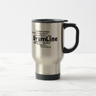 Drumline Word Cloud Black Text Travel Mug
