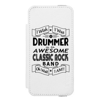 DRUMMER awesome classic rock band (blk) iPhone SE/5/5s Wallet Case
