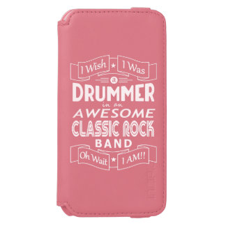 DRUMMER awesome classic rock band (wht) iPhone 6/6s Wallet Case