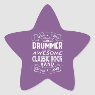 DRUMMER awesome classic rock band (wht) Star Sticker