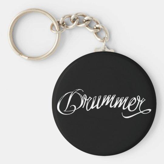 Drummer Black Keychain