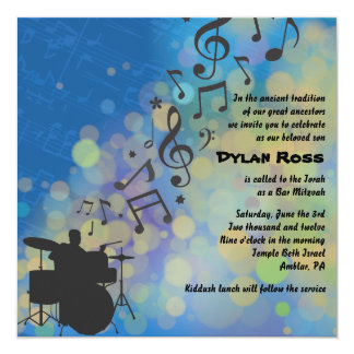Drummer Boy Bat Bar Mitzvah Invitation