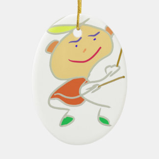 Drummer Boy Double-Sided Oval Ceramic Christmas Ornament