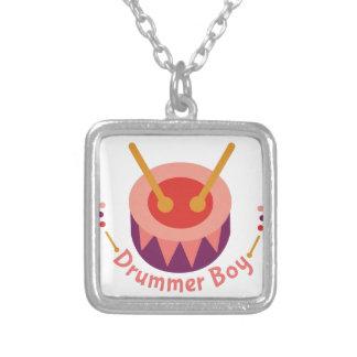 Drummer Boy Square Pendant Necklace