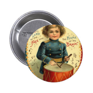 Drummer Boy Star Red White Blue Pinback Button