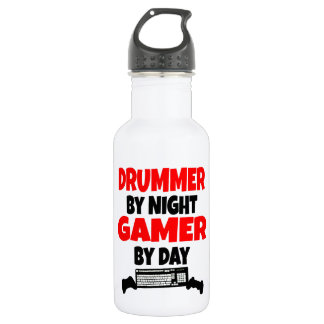 Drummer by Night Gamer by Day Water Bottle