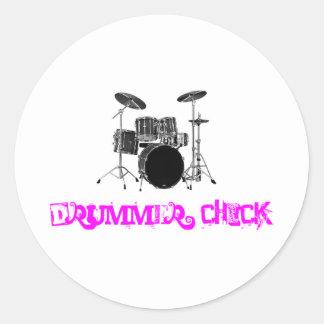 Drummer Chick Classic Round Sticker