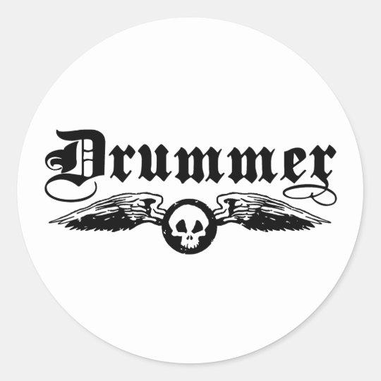 Drummer Classic Round Sticker