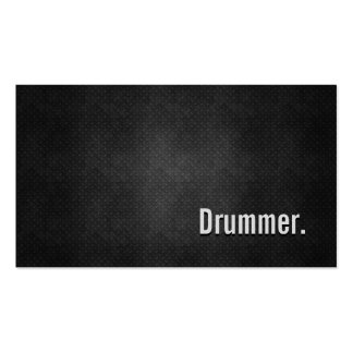 Drummer Cool Black Metal Simplicity Business Card Templates