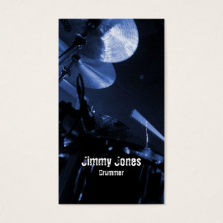 Drummer Cymbals and Toms Blue Business Card