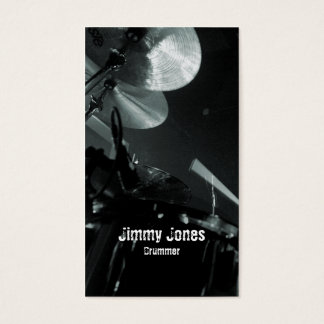 Drummer Cymbals and Toms Grey Business Card
