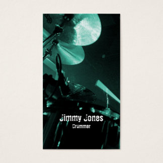 Drummer Cymbals and Toms Turquoise Business Card