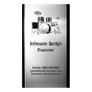 Drummer Drum Set - Brushed Stainless Steel Metal Double-Sided Standard Business Cards (Pack Of 100)