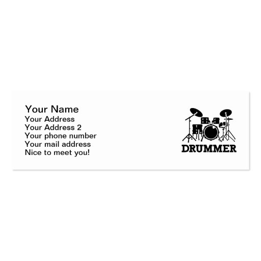 Drummer drums business card template