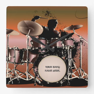 Drummer Drums Set Square Wall Clock
