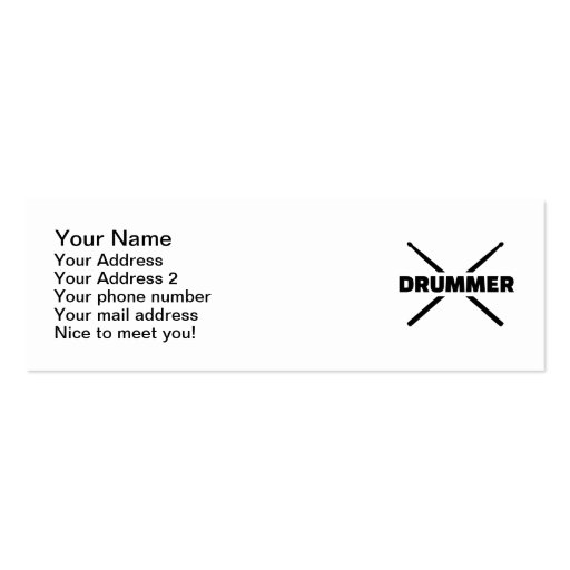 Drummer Drumsticks Business Cards