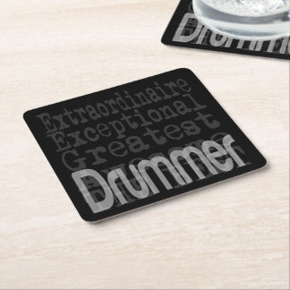 Drummer Extraordinaire Square Paper Coaster