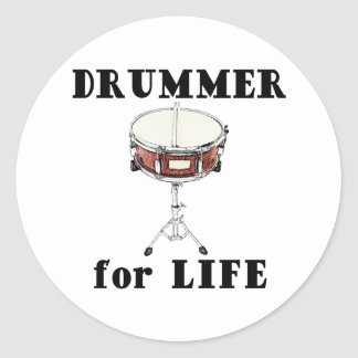 Drummer for Life Classic Round Sticker