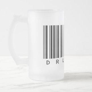 Drummer Frosted Glass Beer Mug