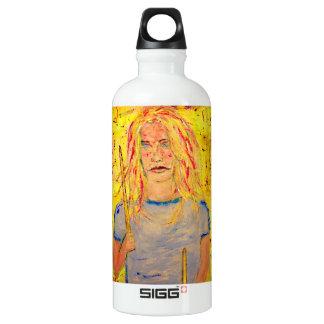 drummer girl art water bottle