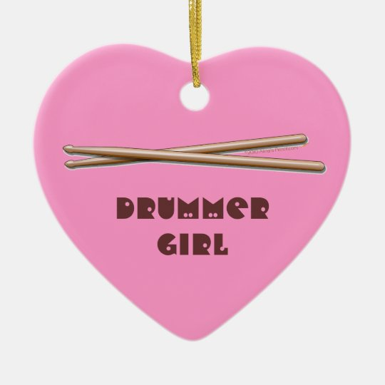 Drummer Girl Drumsticks Customizable Pink Ornament