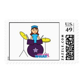 Drummer Girl Postage Stamp