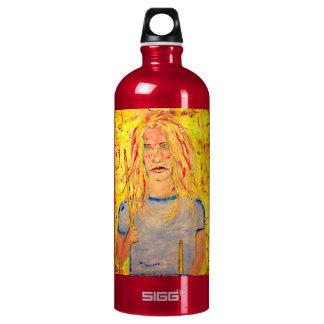 drummer girl rocks art aluminum water bottle