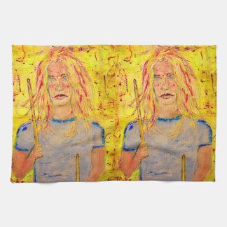 drummer girl rocks art kitchen towel