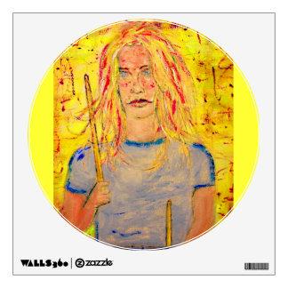 drummer girl rocks art wall sticker
