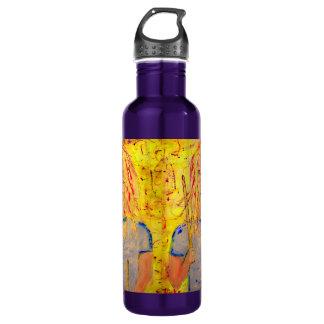 drummer girl rocks art water bottle