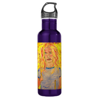drummer girl rocks drip painting 24oz water bottle