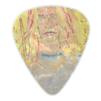 drummer girl rocks pearl celluloid guitar pick