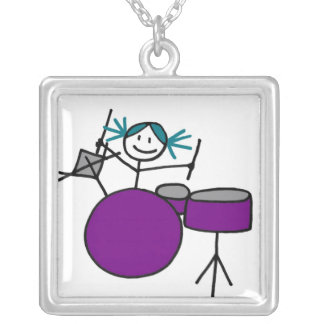 Drummer Girl Silver Plated Necklace
