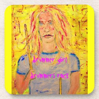 drummer girl slogans art coaster