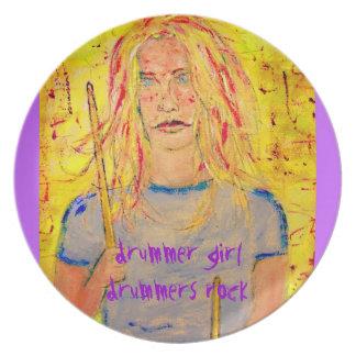 drummer girl slogans art melamine plate