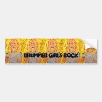 drummer girls rock car bumper sticker