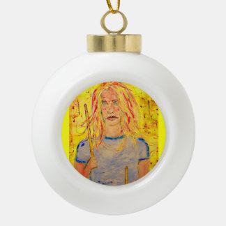 drummer girls rock ceramic ball christmas ornament