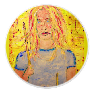 drummer girls rock ceramic knob