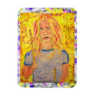 drummer girls rock drip painting rectangular photo magnet