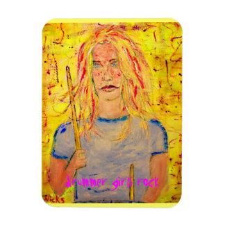 drummer girls rock rectangular photo magnet