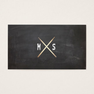 Drummer Grunge and Gold Drumsticks Black Business Card