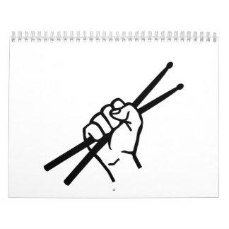 Drummer hand drumsticks calendars