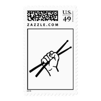 Drummer hand drumsticks stamps
