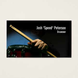 Drummer Holding Drumsticks Blue Business Card