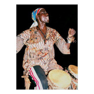 Drummer in Banjul, The Gambia, West Africa Poster