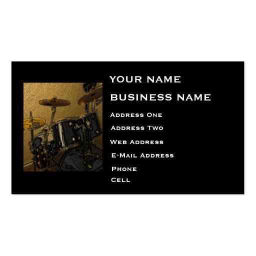 Drummer music business card zazzle for Drummer business cards