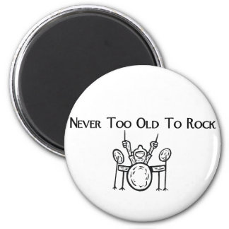 Drummer Never Too Old To Rock 2 Inch Round Magnet