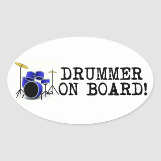 Drummer on Board Oval Sticker